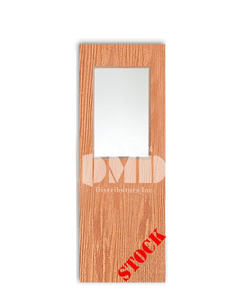 Flush Oak Solid Core Commercial With Half Glass Insert 7 0
